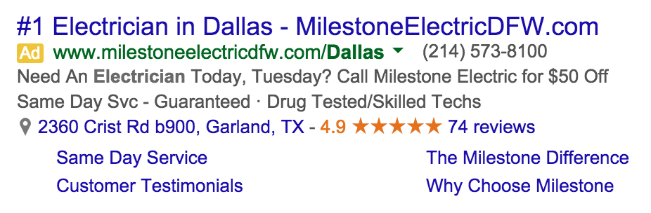 PPC Adwords Rating Review Stars