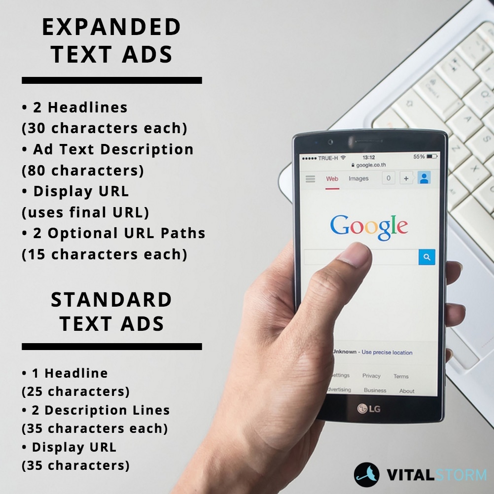 differences between standard text ads and expanded text ads (ETA)