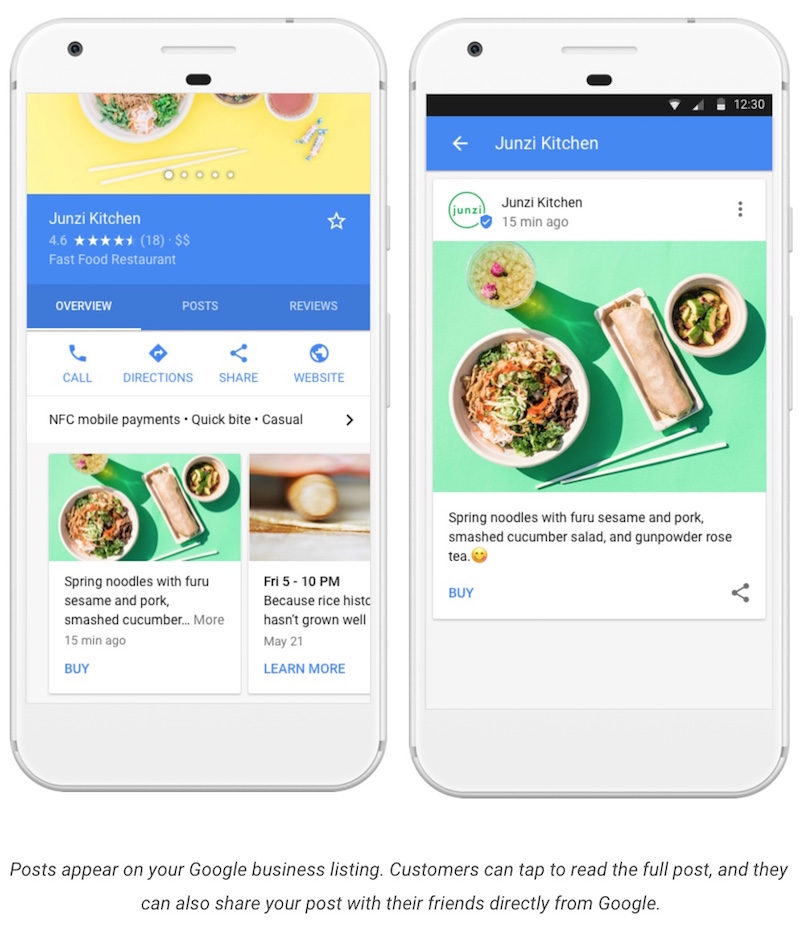 What Does a Google Post Look Like (Mobile Version)