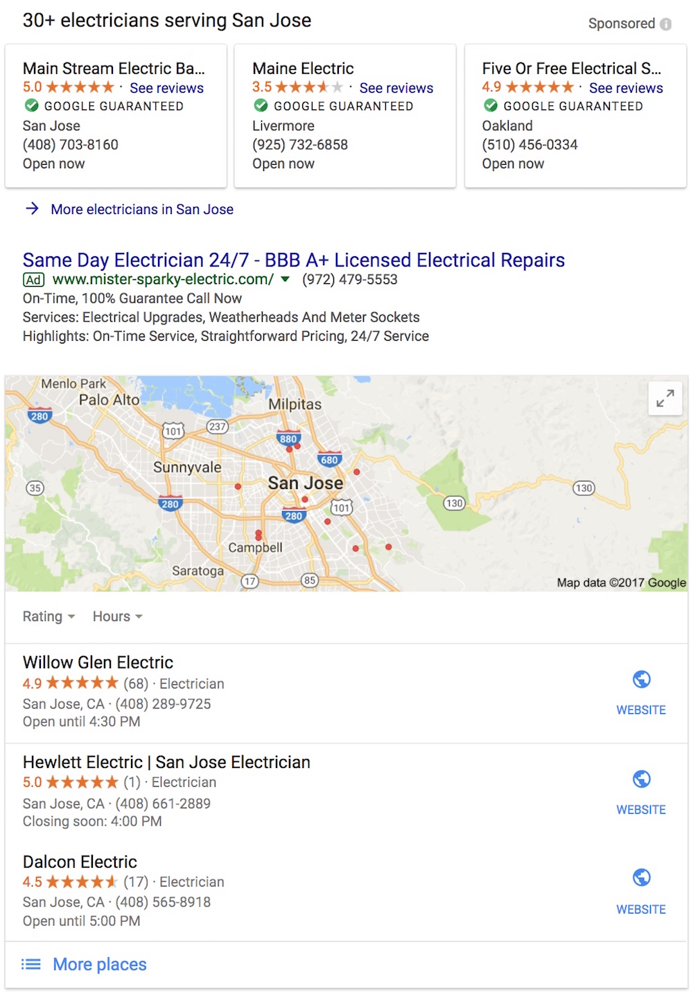 Google Local Services unit top of search (SERP) page