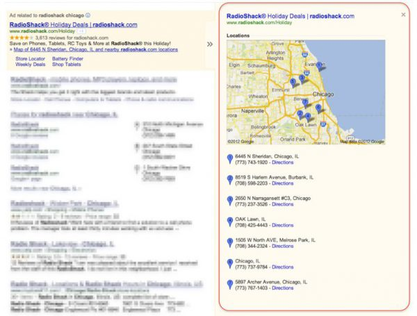 Google location extension map panel search results
