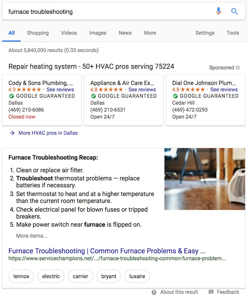 Example of a featured snippet in Google - VitalStorm Marketing