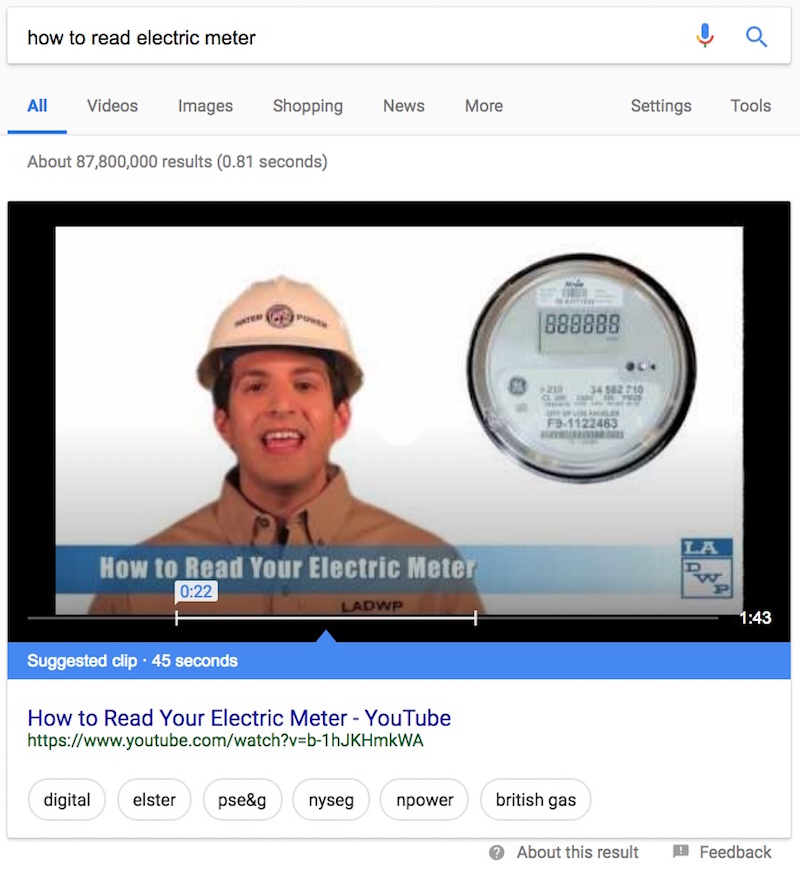 YouTube Featured Snippet Quick Answer Box