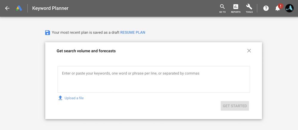 Enter or paste list of keyword Google Keyword Planner