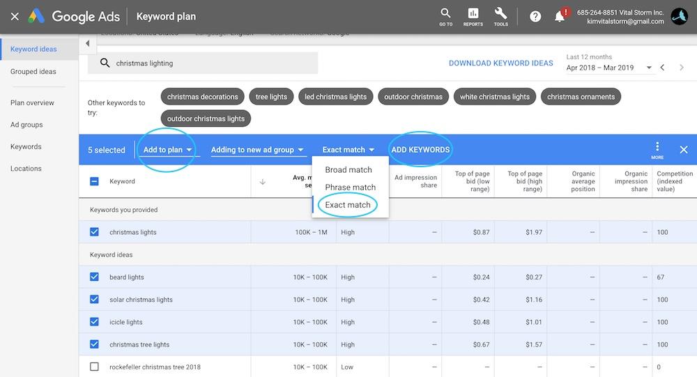 Find monthly search volume for keywords - Google Keyword Planner