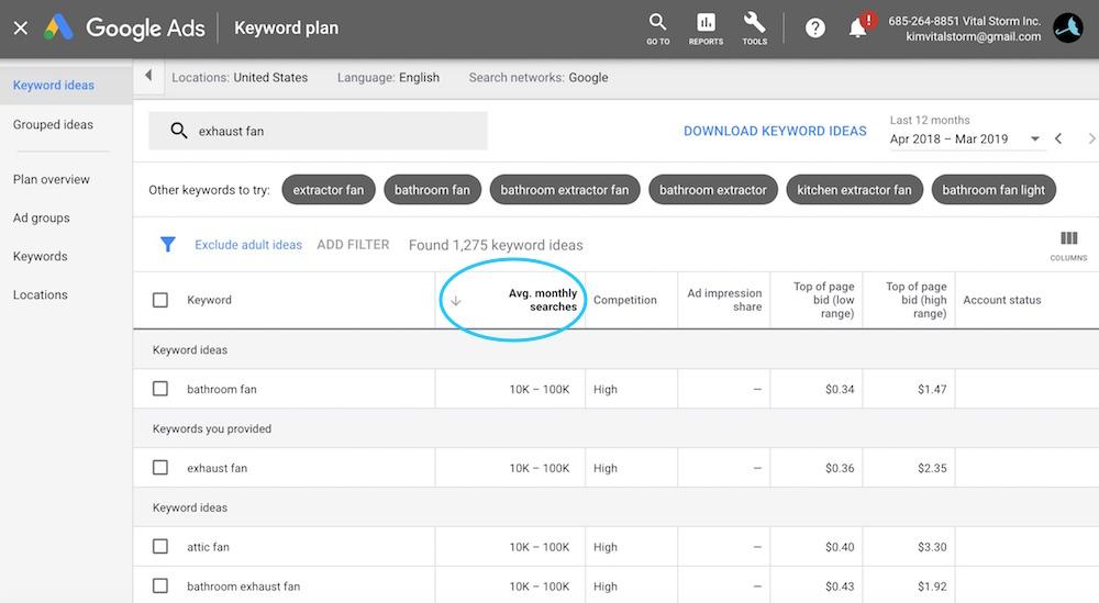 filter Google Keyword Planner results - VitalStorm