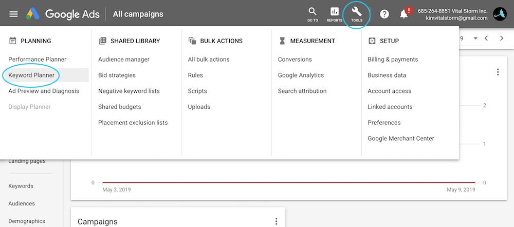How to find Google Keyword Planner from dashboard - VitalStorm