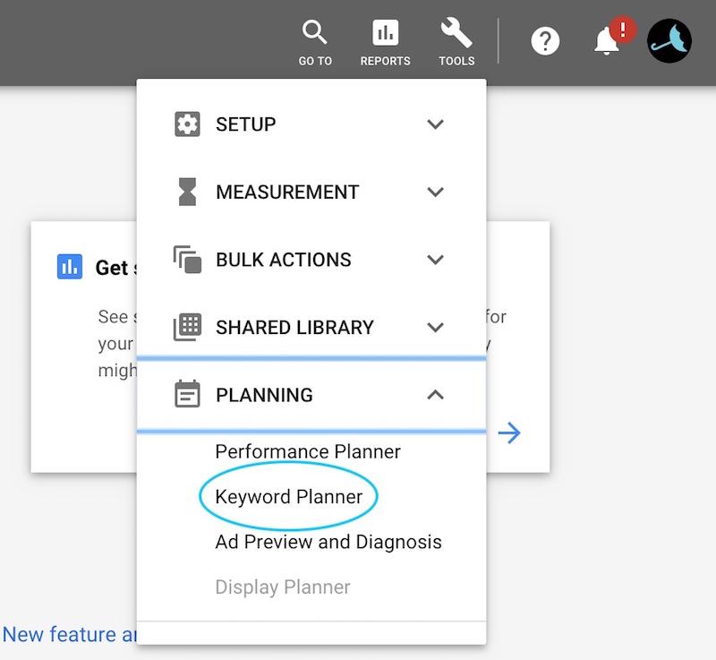 find keyword planner under Planner - VitalStorm