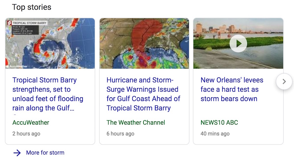 Top stories carousel example Google rich results - VitalStorm
