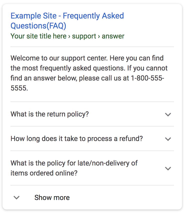FAQ structured data rich result example - VitalStorm